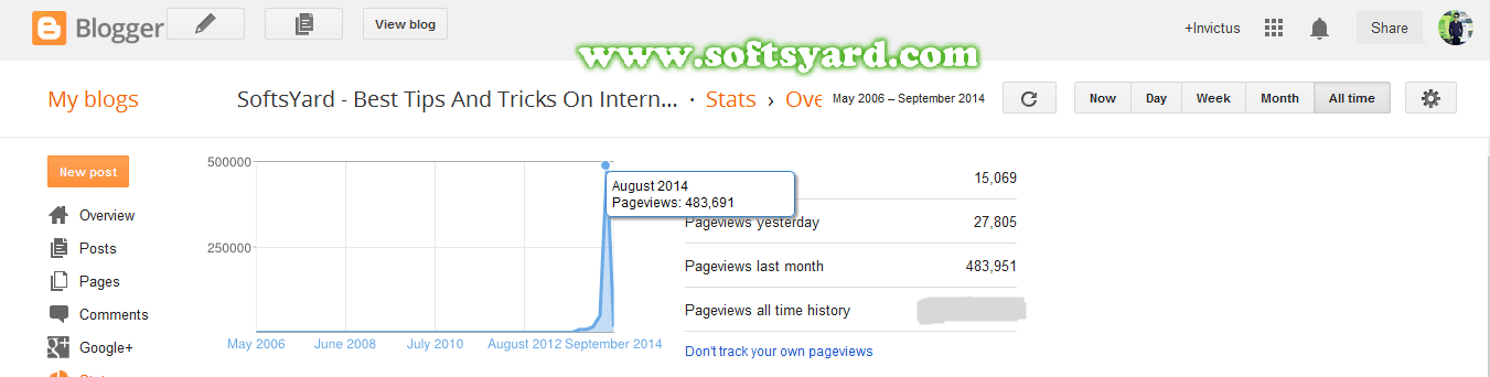 Traffic History For Softsyard on the month of August