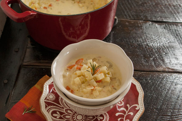 creamy potato soup, dairy, delicious creamy soups, leftover potato soup, light potato soup, paleo soup, rosemary potato soup, rosemary soup, soup, winter soups, A Dash of Delish