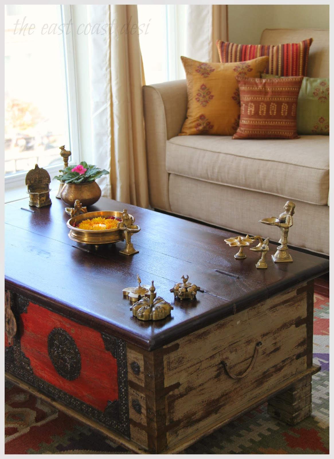 The east coast desi my living room a reflection of india for Room decoration ideas in diwali