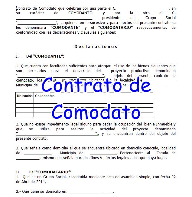 formato de un contrato del comodato