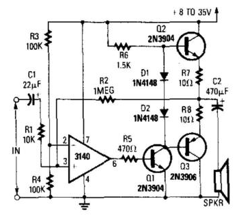 only wiring and diagram  op amp audio amplifier circuit
