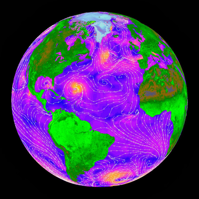 False-color image of ocean wind speeds as measured by NASA's QuikScat satellite in 1999. Orange represents the fastest wind speeds and blue the slowest. White streamlines indicate the wind direction. Image Credit: NASA/JPL-Caltech