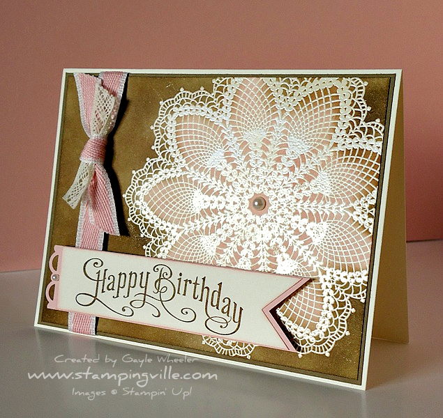 Hand Stamped Vintage Doily Greeting Card Idea