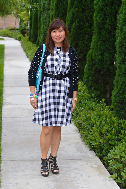 Pattern Mixing, polka dots and gingham, black and white, Fashion Over 40, OC Blogger