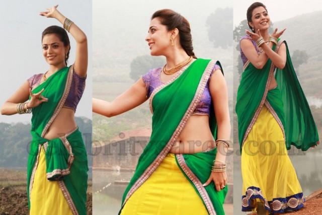 Nisha Agarwal Lime Yellow Half Saree