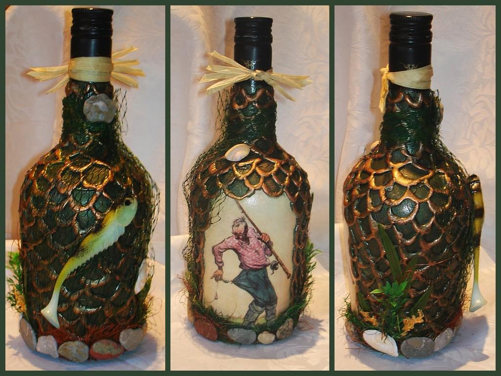 Декорирование бутылки своими руками мастер класс 100