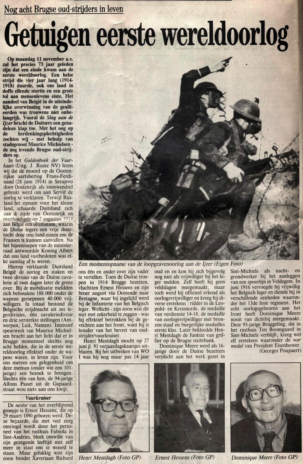 Brugse oud-strijders getuigen. Krant van West-Vlaanderen van 8 november 1991.