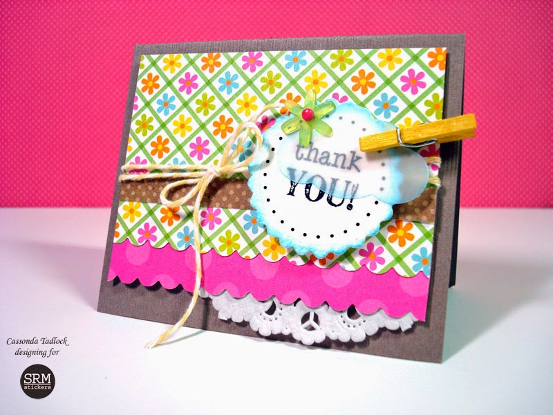 SRM Stickers Blog - Mini Thank You Card Set & Box by Cassonda - #cards #minicards #twine #kraft #windowbox #clearstamps #janesdoodles #doilies #punchedpieces #giftset #stickers #DIY