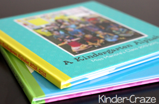 kindergarten alphabet photo books created in Shutterfly.