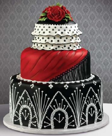 Red White & Black Wedding Cakes