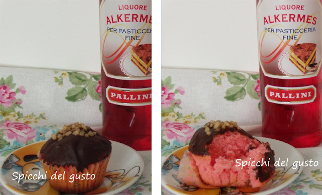 Muffin con Alkermes e cioccolata fondente