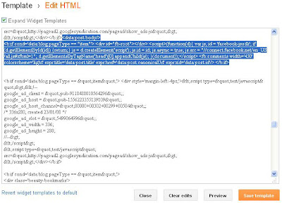 adding facebook code in edit html