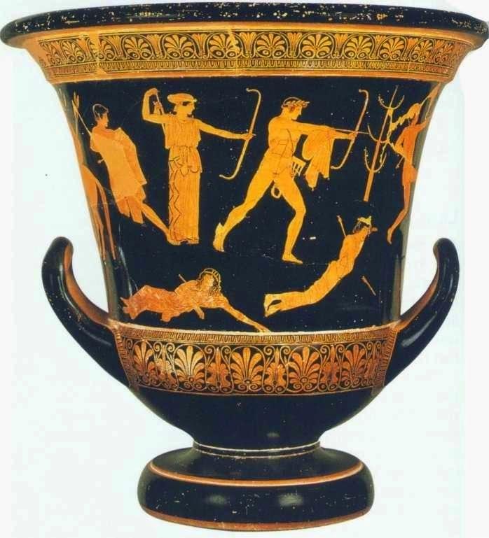 """Θάνατος των Νιοβιδών. Καλυκωτός Κρατήρας, από το Ορβιέτο της Ετρουρίας. Ζωγράφος των Νιοβιδών, 455-450 π.Χ. Σύμφωνα με τον μύθο η Νιόβη, έχοντας επτά αγόρια και επτά κορίτσια, ειρωνεύτηκε τη Λητώ που είχε μόνο δύο, τον Απόλλωνα και την Άρτεμη. Η ύβρις αυτή της Νιόβης της στοίχισε το θάνατο των παιδιών της από τα παιδιά της Λητώς, κατόπιν εντολής της μητέρας τους. Στην παράσταση εικονίζονται ήδη δύο από τα παιδιά της Νιόβης να βρίσκονται πεσμένα στο έδαφος με τα βέλη των θεών να τους έχουν πάρει τη ζωή. Ένα τρίτο παιδί, λαβωμένο ήδη, τρέχει να ξεφύγει από το βέλος που ετοιμάζεται να ρίξει ο Απόλλωνας. Ανάμεσά τους εικονίζεται σχηματικά ένα δέντρο, συμβάλλοντας στην απόδοση του φυσικού περιβάλλοντος. Το τέταρτο λαβωμένο παιδί βρίσκεται πίσω από την Άρτεμη, η οποία βγάζει από τη φαρέτρα της (""""γωρυτός"""") το επόμενο βέλος. Παρίσι, Μουσείο του Λούβρου, G 341"""