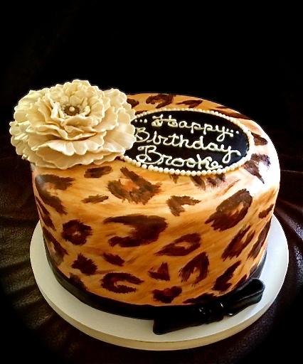 Sweet K Cake Design : Sweet T s Cake Design: Leopard Print Birthday Cake w/ flower