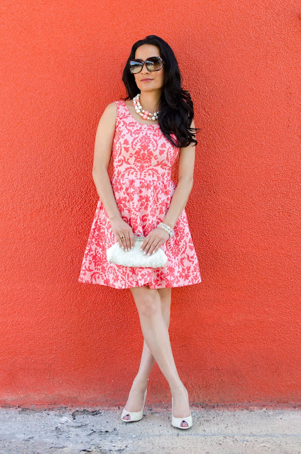 Coral and Pink Love...Ady Fleur De Lis Skater Fit and Flare Dress Brown Gucci Bamboo Glasses BCBG Cream Snakeskin Print Peep Toe Heels  White Embellished Purse Pink and White Bead Necklace Iridescent bead bracelet