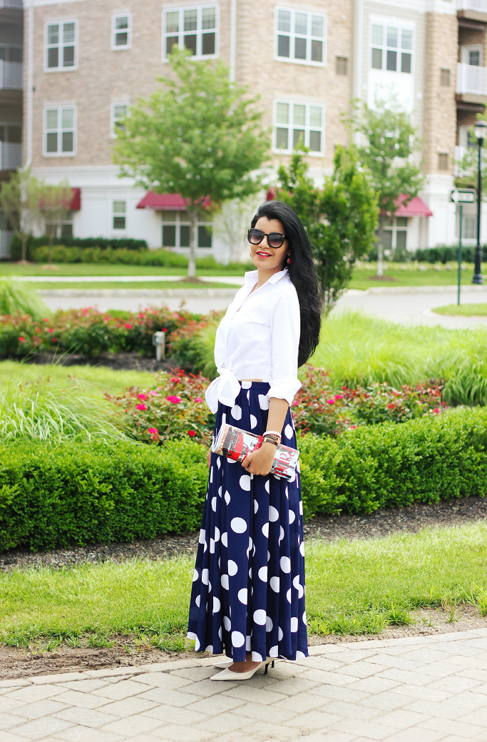 Polka Dot Full Maxi Skirt, Polka Dot Long skirt, Mix Nouveau Skirt, J Crew endless shirt