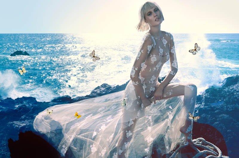 Toni Garrn in Blumarine Spring/Summer 2014 campaign (photography: Camilla Akrans) via fashioned by love british fashion blog