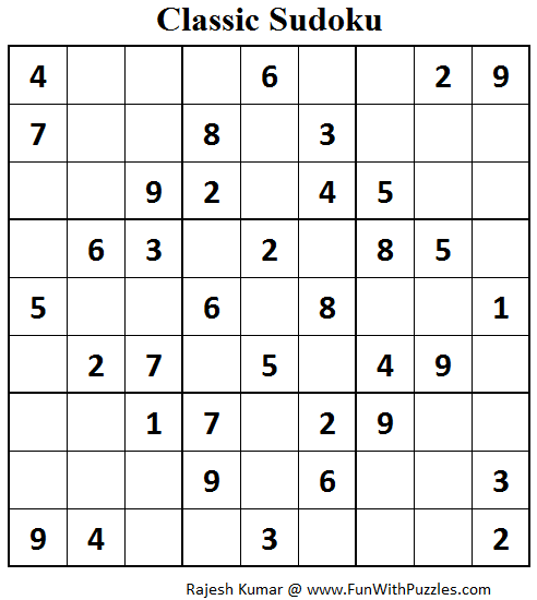 Classic Sudoku (Fun With Sudoku #76)