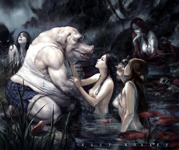 mulheres e homens porcos ilustração