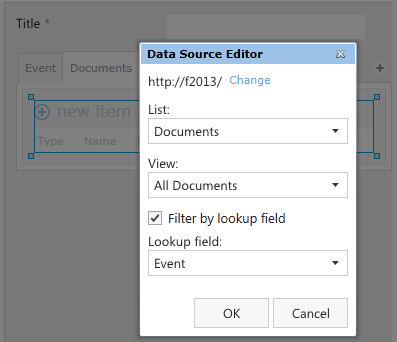 Data source of the related items control