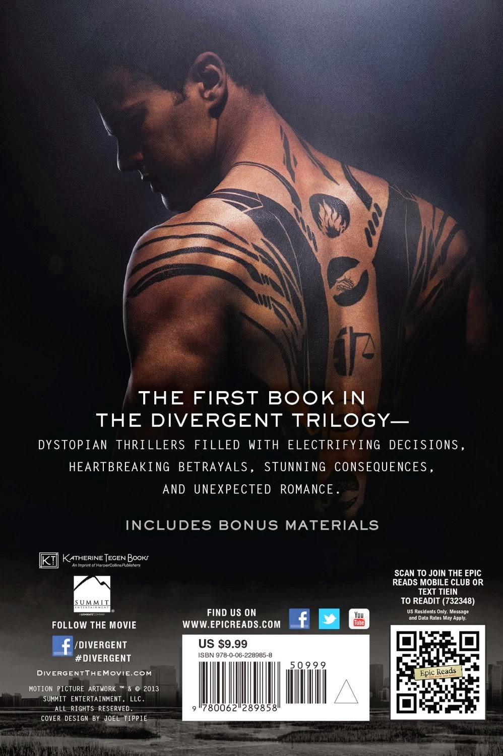 The back cover has a little Divergent Book Cover Back