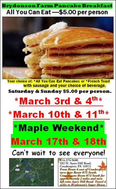 3-17/18 All You Can Eat Pancakes, Brydonson Farm