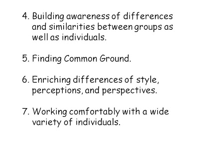 Building awareness of differences and similarities between groups as well as individuals.   Finding Common Ground.  Enriching differences of style, perceptions, and perspectives.  Working comfortably with a wide variety of individuals.