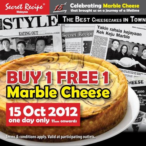 Secret recipe cheese cake buy 1 free 1