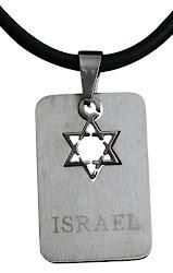 Dije acero Israel Maguen 3 x 2 ctms.