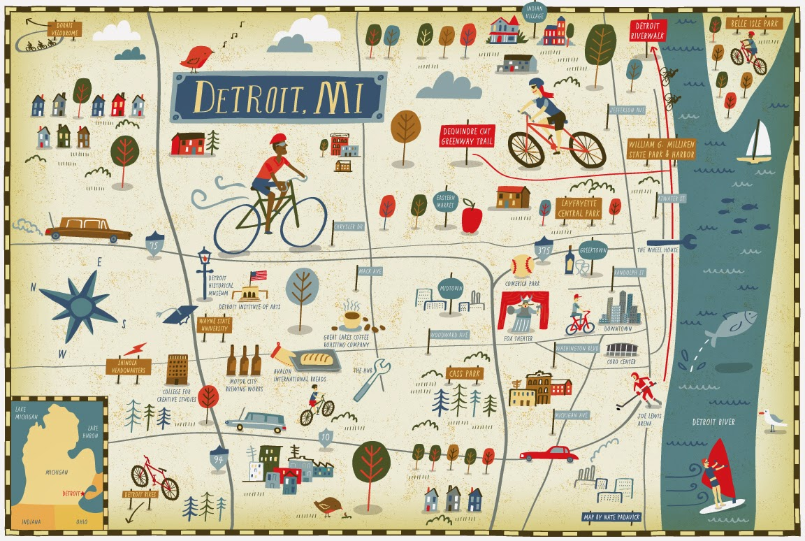 I Draw Maps Detroit Bike Map For Bicycle Times Magazine