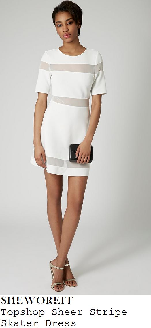 jasmin-walia-white-sheer-mesh-stripe-short-sleeve-skater-dress