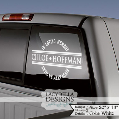 Memorial Vinyl Window Decals - In Loving Memory of CarTruck