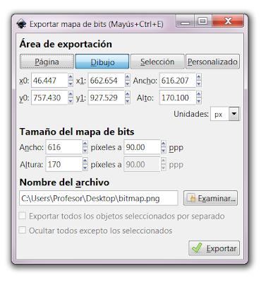 Inkscape, exportar imagen, opciones de exportar