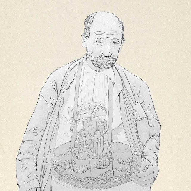 vendedor, ambulante, cuchillos, Albacete, dibujo