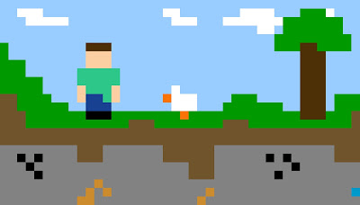Pixel art scene of Minecraft steve and his chicken