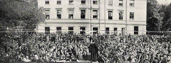 In 1925 the Elim Bible College in Clapham, London Principal George Jeffreys addressing
