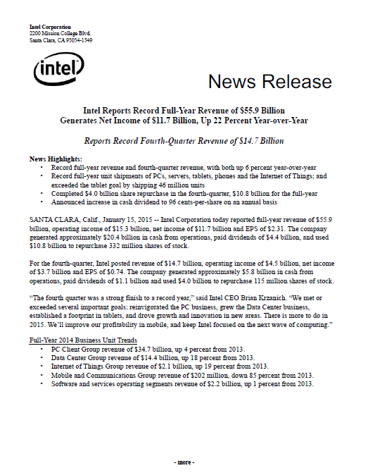 Annual, report, Intel, 2014, front page