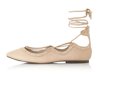 Topshop nude lace up flats