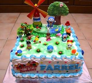 Bentuk Kue Ulang Tahun Doraemon dan Teman-Teman