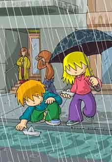 Gambar Hujan Kartun Lucu Animasi Bergerak Hujan Lebat