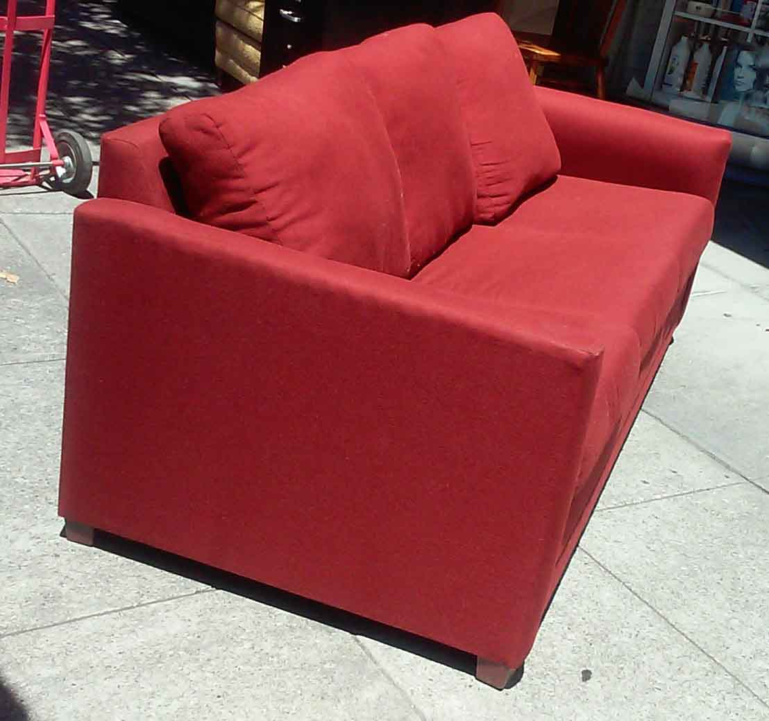 Uhuru furniture collectibles sold brick red sofa for Brick red sectional sofa
