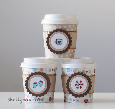 Coffee Cup Wraps using Frozen Friends Stamps by Shelly Mercado for Newton's Nook Designs