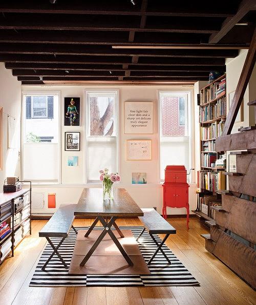 sala de jantar copa e biblioteca integrada