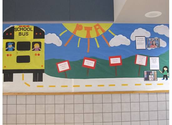 bulletin board ideas for the end of year, summer bulletin board ideas, school bus on bulletin board, PTA bulletin board