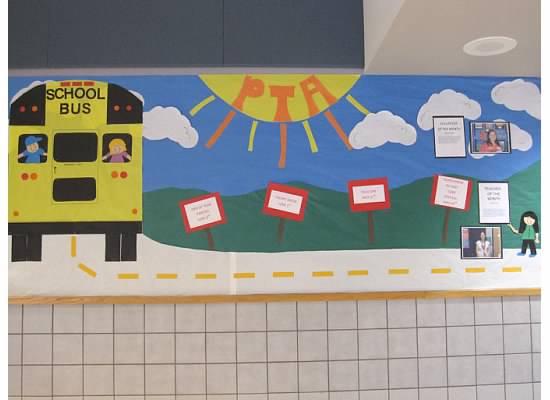 bulletin board ideas for the end of year, summer bulletin board ideas, school bus on bulletin board, PTA bulletin board