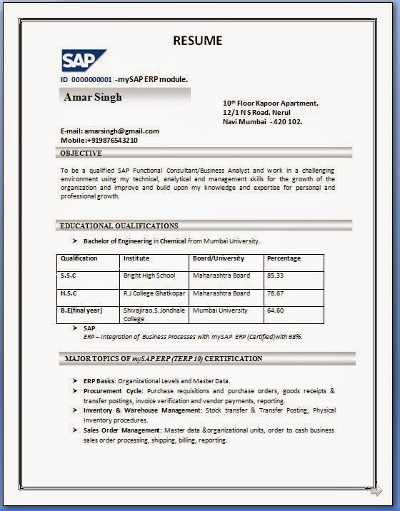 resume templates - Sample Sap Resume