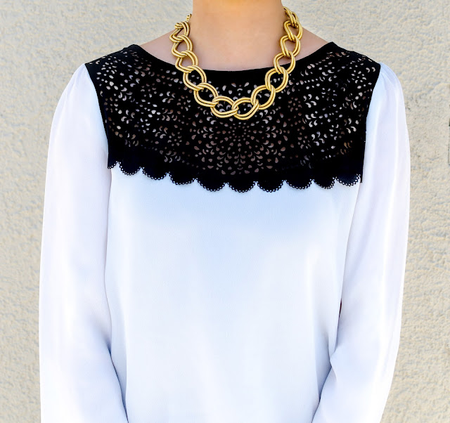 Costa Blanca Black and White Laser Cut Blouse Gold Link Necklace Black Free People Kick Flare Pull On Jeans Vintage Mens Inspired Gold and White Tip Balllet Flats with Chunk Heel Black and White Stiripes