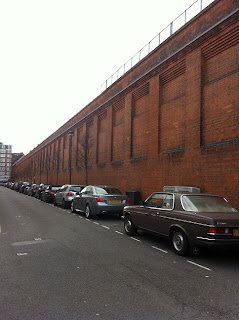 The eastern perimeter wall of Marylebone Station, Boston Place, London.