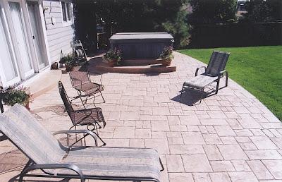Ashlar slate stamped concrete patio
