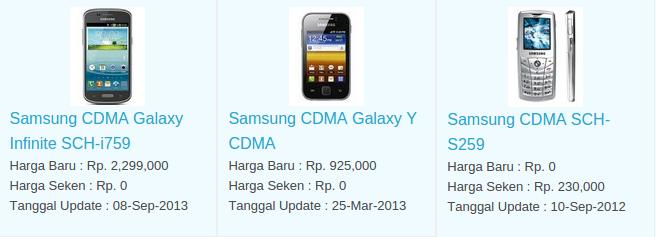 Daftar Harga Hp Samsung CDMA November 2015